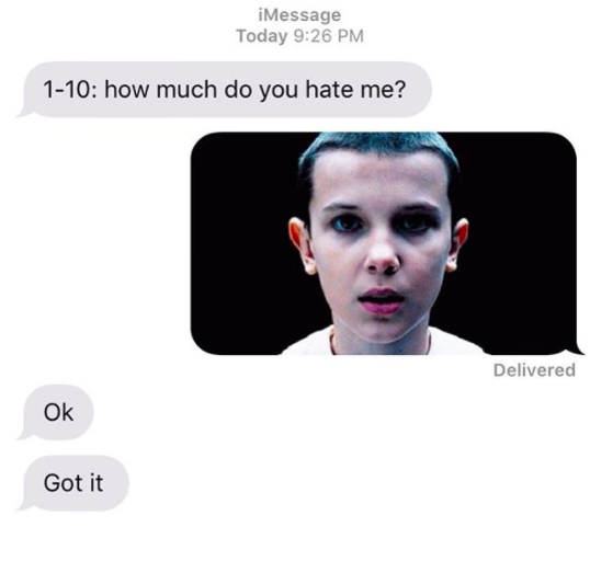 For those of you who don't watch Stranger Things, the character in the pic is named Eleven.