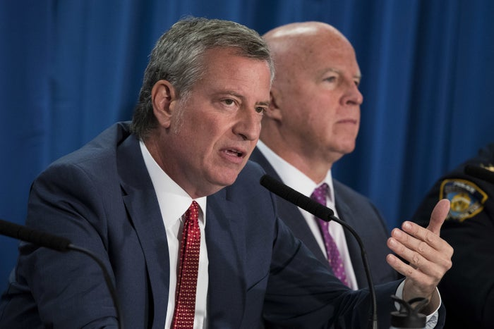 New York City Mayor Bill de Blasio and New York City Police Commissioner James O'Neill during a recent news conference.