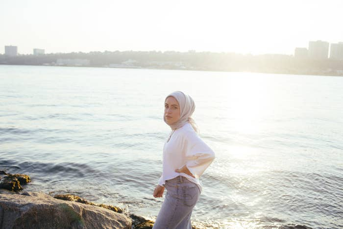 Mona Haydar at the West Harlem Piers in New York City.