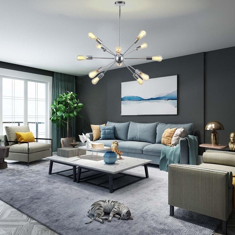 A living room with the VINLUZ Sputnik 12-light chandelier in chrome.