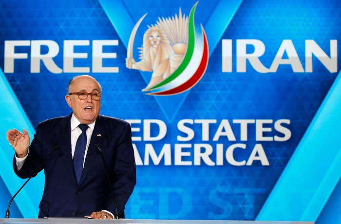 Rudy Giuliani at the June 30 meeting of the National Council of Resistance of Iran. German prosecutors say an Iranian diplomat based in Austria conspired to have the meeting bombed.