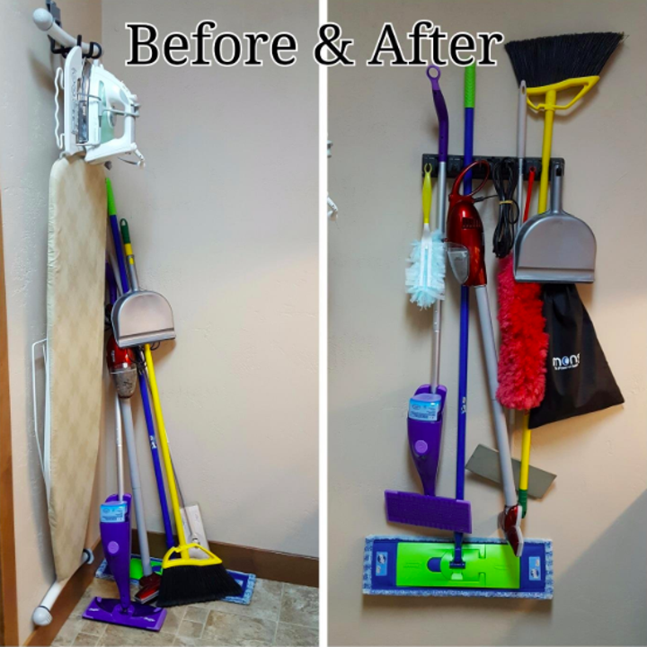 a before and after of the reviewers cleaning tools all leaning against a wall, then hanging from the rack