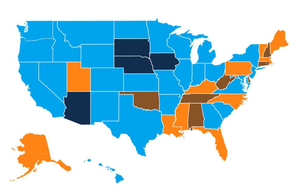 Opioid use disorder per 1,000 members (black = < 3, blue = 3–6, orange = 6–9, brown = > 9).