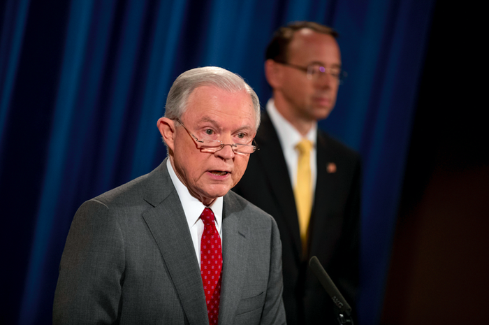 Attorney General Jeff Sessions speaks during a news conference on Aug. 4, 2017, on leaks of classified information.