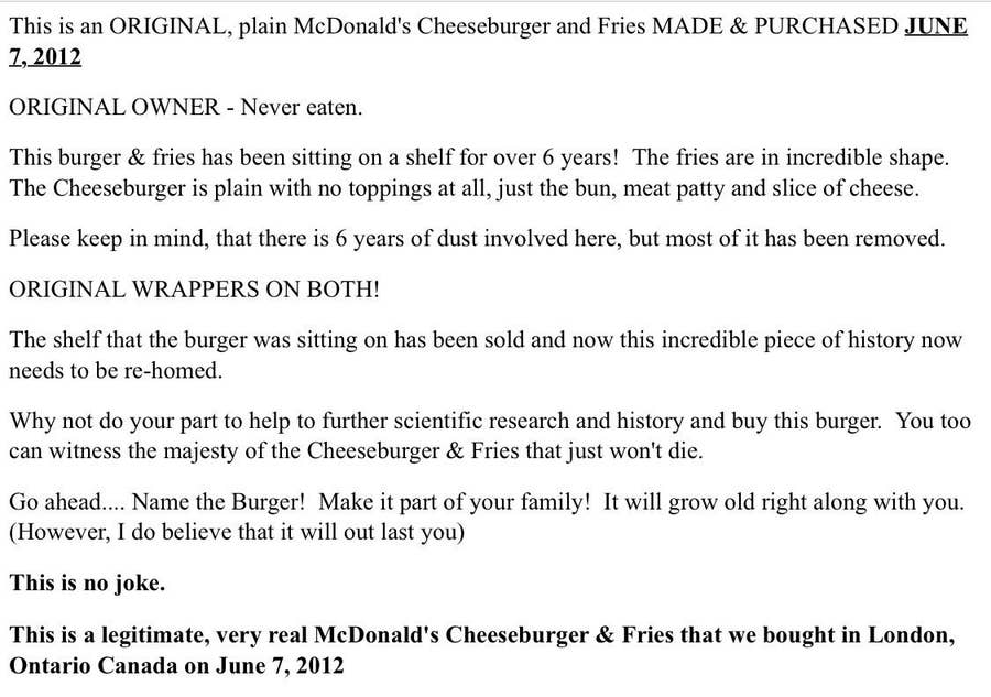 A Canadian Man Tried To Auction A Mcdonald S Meal That Was 6 Years Old But Ebay Removed It