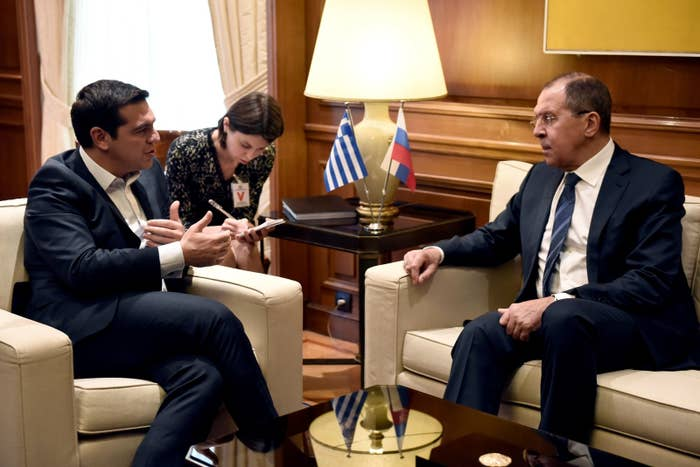 Greek Prime Minister Alexis Tsipras (left) speaks with Russian Foreign Minister Sergei Lavrov during their meeting in Athens in 2016.