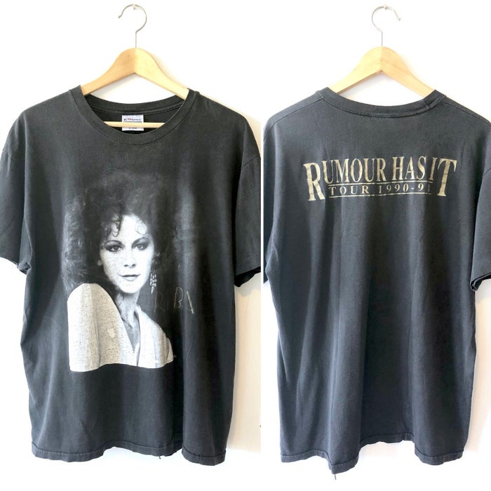 Pictured: Rare Vintage 1990 Reba McEntire T-shirt // Rumor Has It Tour, $64.99.@brooklyns_trunk