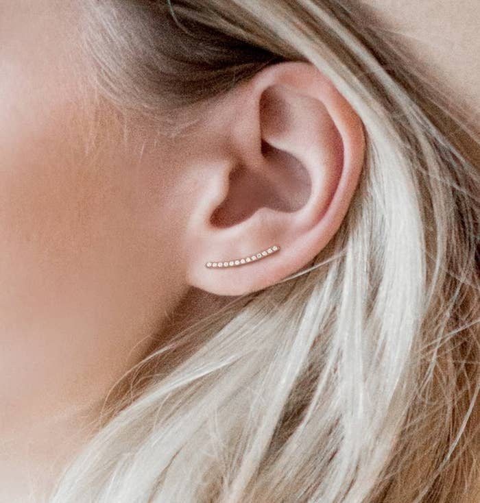 """Promising review: """"They arrived faster than expected and I was very impressed with the packaging, as well as the quality of the earrings. I'm very allergic to the nickel that some jewelry has in it so I put these on immediately and wore them the rest of the day. No reaction! The back is comfortable and they stayed in place (even when I fell asleep on the couch for a bit.) I would definitely recommend these to anyone!"""" —MillerMommyGet them from Amazon for $10.99."""
