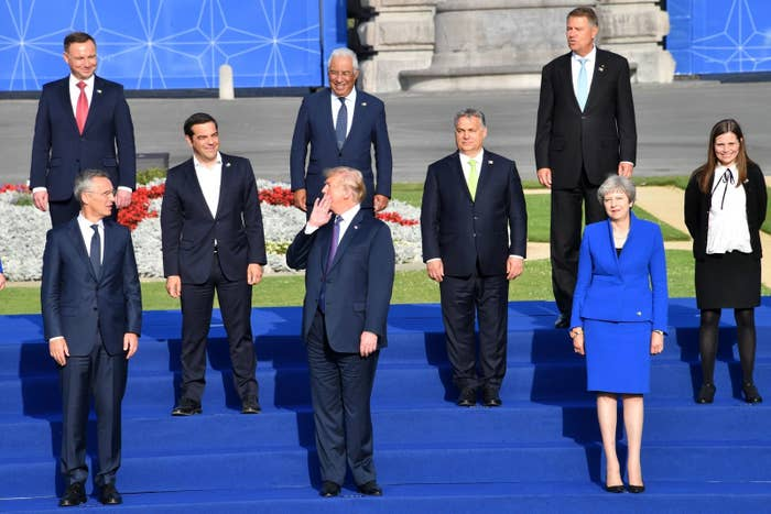 NATO leaders assembling for a group photo during their summit.