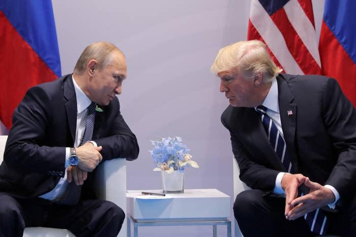 Putin and Trump at the G20 summit on July 7, 2017.