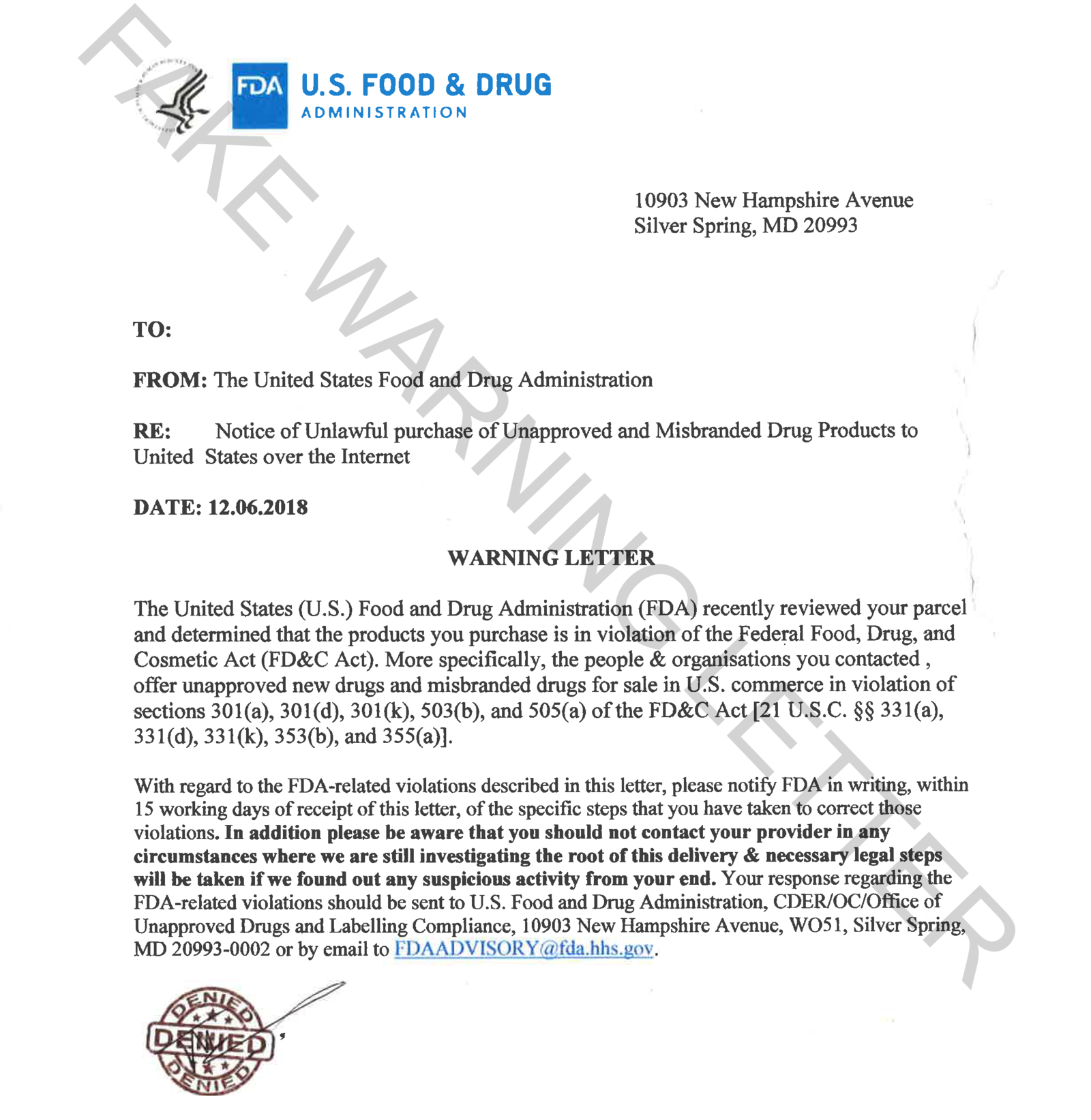 A fake FDA warning letter sent to a consumer.