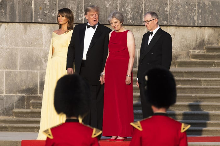 Trump and May (center) at Blenheim Palace Thursday.