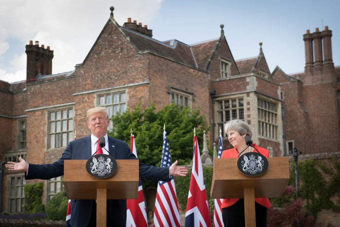 Trump gestures during a joint press conference with Theresa May at Chequers, the prime minister's country residence, northwest of London.