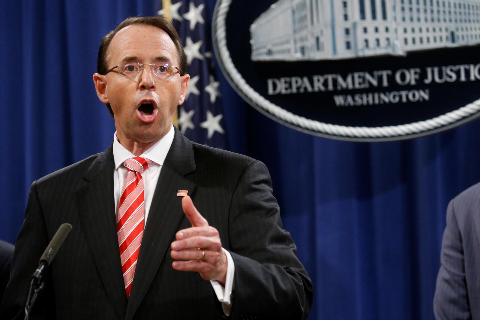 Deputy US Attorney General Rod Rosenstein.