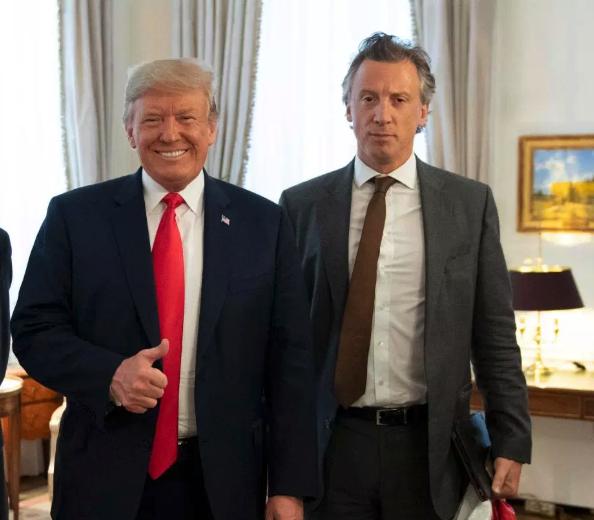 President Trump with the Sun's political editor, Tom Newton Dunn.