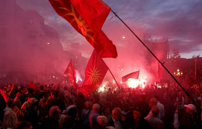 Protests over the naming deal with Greece take place outside the Macedonian parliament on June 23.