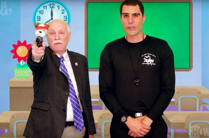 """Gun rights activist Philip Van Cleave helps Baron Cohen make a video for a fictitious """"Kinderguardians"""" program, which arms kindergartners with guns."""