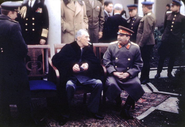 President Franklin D. Roosevelt meets with Joseph Stalin, the general secretary of the Communist Party, in February 1945, near Yalta in Crimea, Soviet Union.