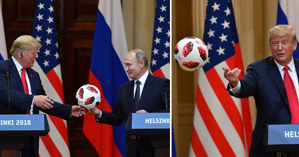 Putin Gave Trump A Soccer Ball As A World Cup Gesture. Trump Tosses It To Melania, Says Barron Will Have It.