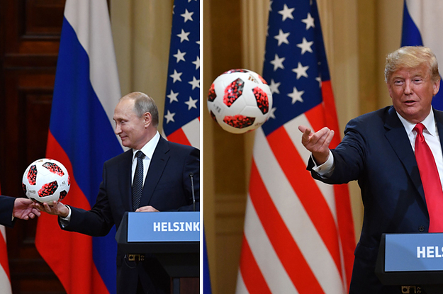 putin gave trump a soccer ball as a world cup gesture trump tossed