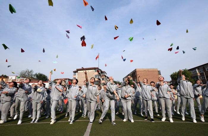 Students prepare to take their college entrance exams at a high school in Handan, north China's Hebei province.