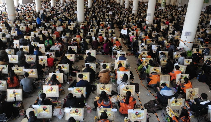 Students take part in an annual college entrance exam in the city of Jinan, China.
