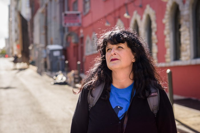 Tracey Helton Mitchell in the San Francisco alley where she used to sleep.