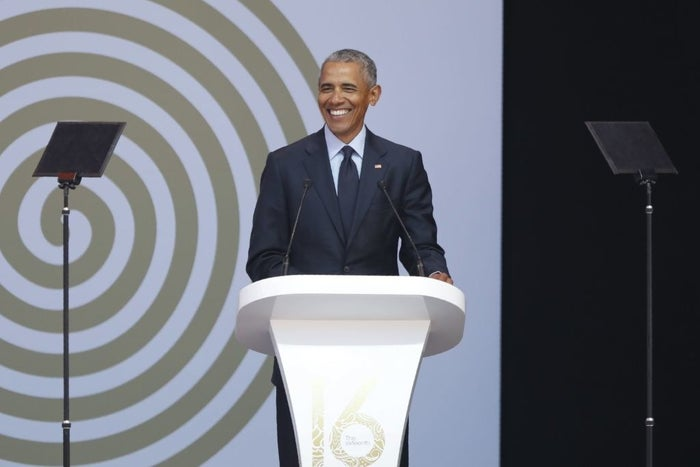 Barack Obama during the 2018 Nelson Mandela Annual Lecture at the Wanderers Cricket Stadium in Johannesburg on July 17.