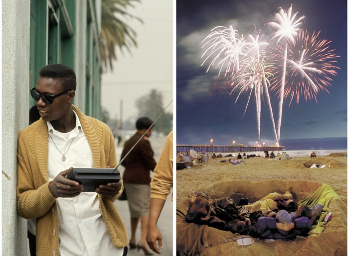 Left: A man in sunglasses listens to his portable radio in Los Angeles in 1966. Right: People watch 4th of July fireworks at the Pismo Beach Pier in 2000.
