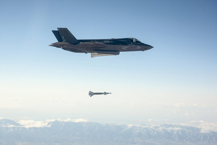 A US Marine Corps F-35B drops a laser-guided bomb during a test at Edwards Air Force Base in California.