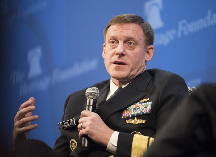 Former NSA director Mike Rogers speaks on Oct. 13, 2017, in Washington.