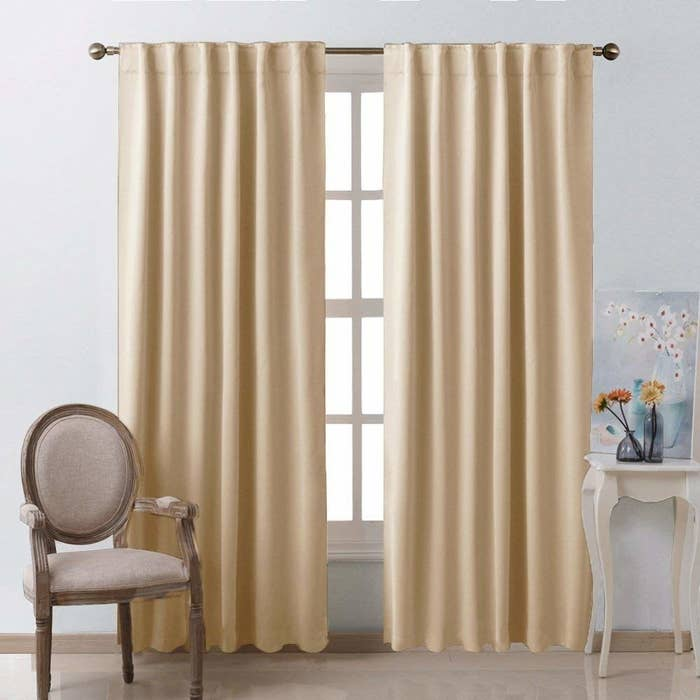 the black-out curtains in a living room