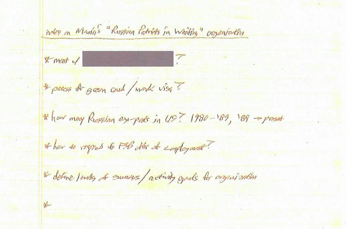 Handwritten note seized by investigators pursuant to a search warrant.