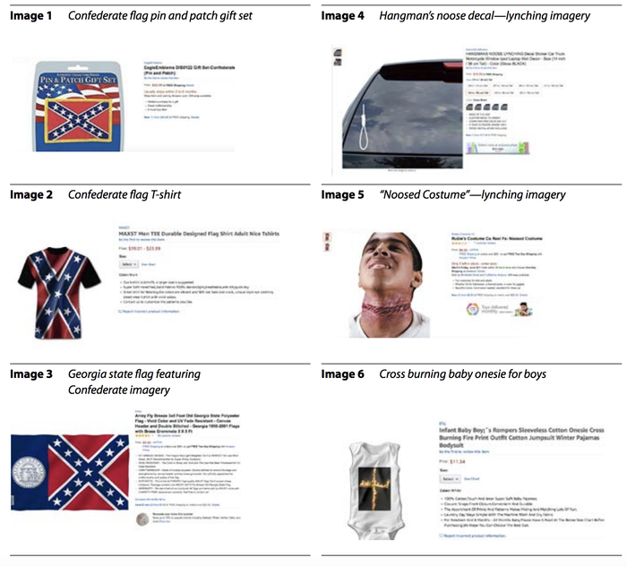 """Products on Amazon that """"feature images identified by the Anti-Defamation League as hate symbols."""" Some have since been removed."""