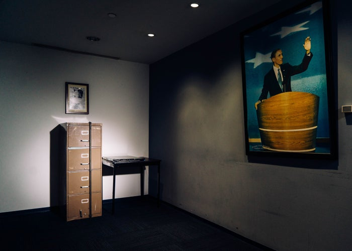 A computer server that Russian hackers breached during the 2016 presidential campaign sits in the basement of the Democratic National Committee's headquarters in Washington, DC, next to a filing cabinet broken into in 1972 as part of the Watergate burglary.