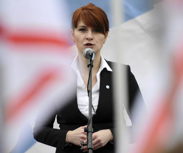 Maria Butina, leader of a pro-gun organization in Russia, speaks to a crowd during a rally in support of legalizing the possession of handguns in Moscow, April 21, 2013.