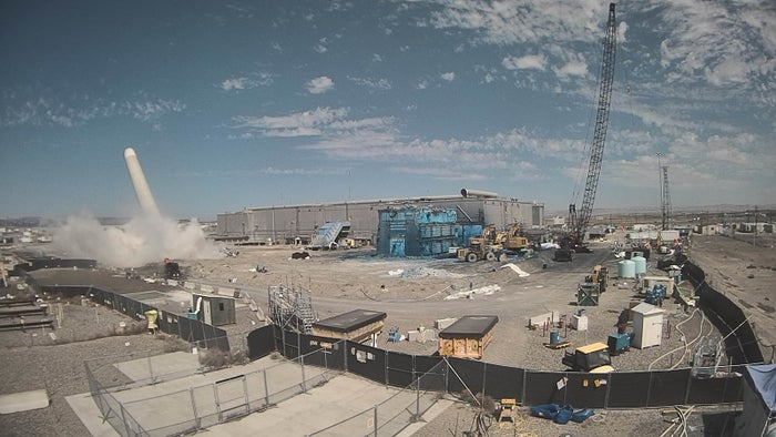 Demolition of the ventilation stack at the Plutonium Finishing Plant, July 2017.