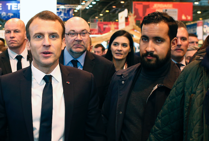 French president Emmanuel Macron and Alexandre Benalla (right).
