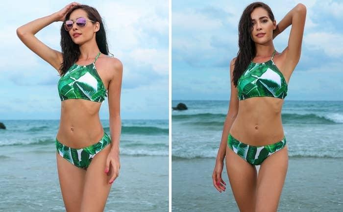 85021ffc5fb13 A tropical-print bikini sure to never ~leaf~ your side.