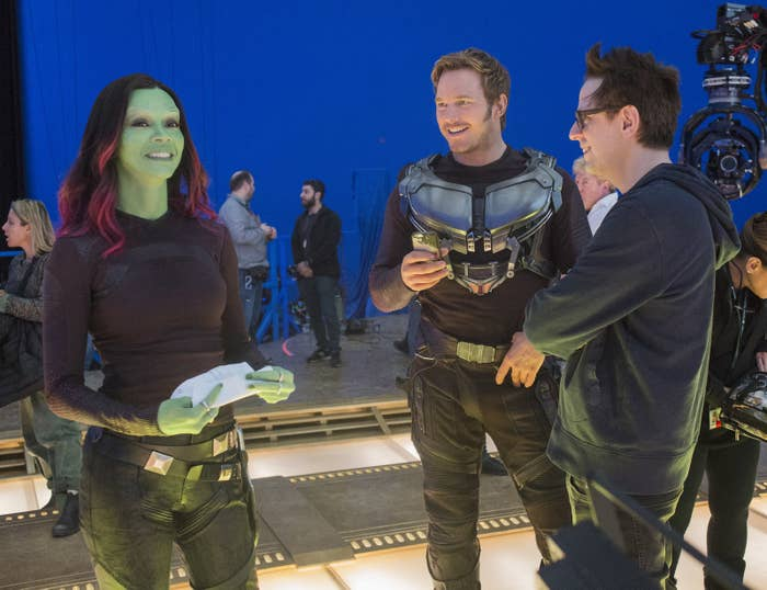 Zoe Saldana, Chris Pratt, and director James Gunn on the set of Guardians of the Galaxy Vol. 2.