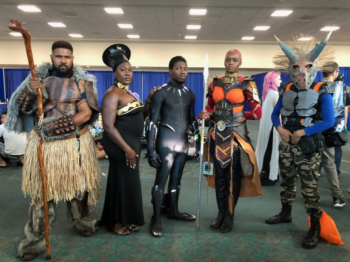 Though they usually cosplay as The Power Rangers, they met up with California cosplayer Rex Armstrong (Killmonger) at San Diego Comic-Con in their Black Panther costumes.