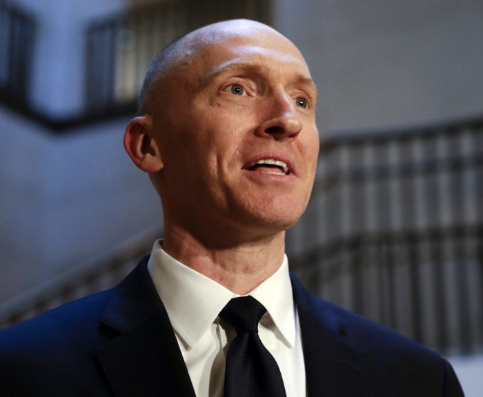Carter Page speaks with reporters following a day of questions from the House Intelligence Committee in Washington, DC.