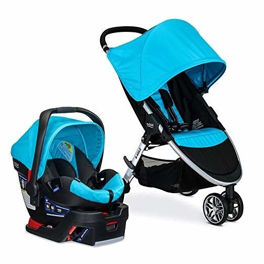 """This travel system comes with a stroller, an infant car seat, a car seat base, and a car seat adaptor. It's lighter than most travel systems, at 28 lbs. Plus, the three wheels make it easy to navigate any crowded street. Promising review: """"I'm absolutely in love! This is our fourth baby, but it's the first time we really """"splurged"""" on a travel system. This thing is amazing! It's heavenly compared to the bulky, heavy, and hard to fold strollers we had before. I love the huge canopy, and the basket is a great size. The car seat is easy to carry by the handle without the canopy getting in the way and the shape of the other part of the handle makes carrying it hooked over your arm comfy too. I don't have any complaints!"""" —Lauren CauseyPrice: $297.49+ (available in five colors)"""