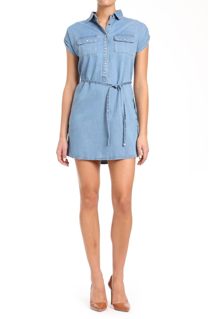 20efe25cb13f A chambray Mavi Jeans shirtdress made with a breezy denim material infused  with wrinkle-resistant lyocell so you never have to worry about getting  those ...