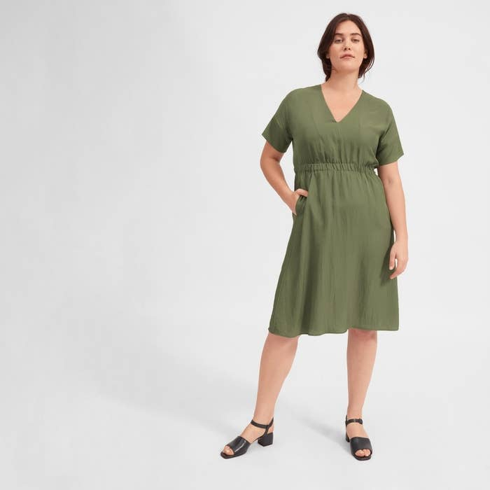c9060a787ea9 A V-neck Everlane elastic-waist dress so lightweight the only thing you ll  feel when you re wearing it is the stuff you have in your pockets — oh