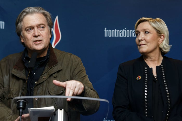 Steve Bannon with Marine Le Pen at her party's annual conference in Lille, France, earlier this year.