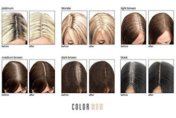 Six before/afters showing the color options, ranging from blonde to brunette