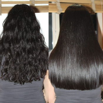 A reviewer before/after of wavy hair and super-shiny straight hair