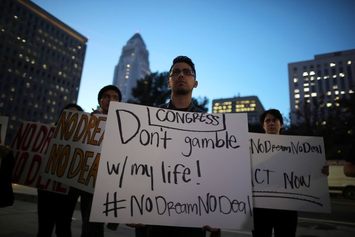 People protest to call for a new DREAM Act to replace DACA in Los Angeles, Jan. 17.
