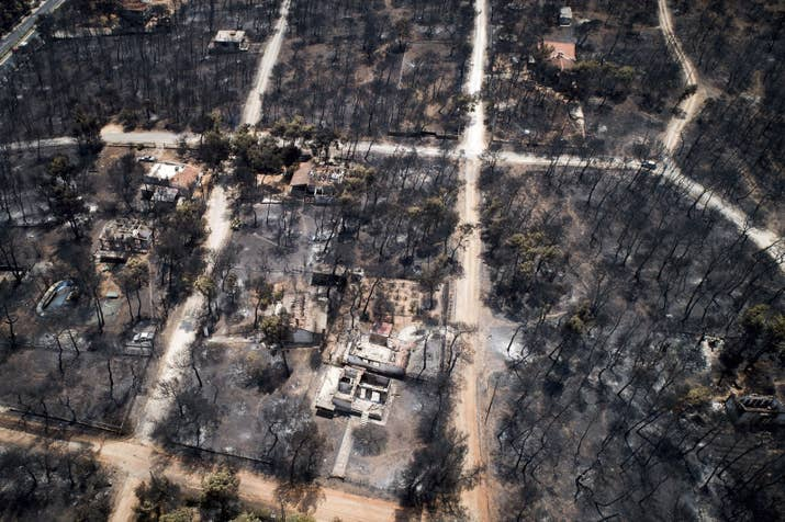 Burned houses and trees following a wildfire in Mati, July 25.